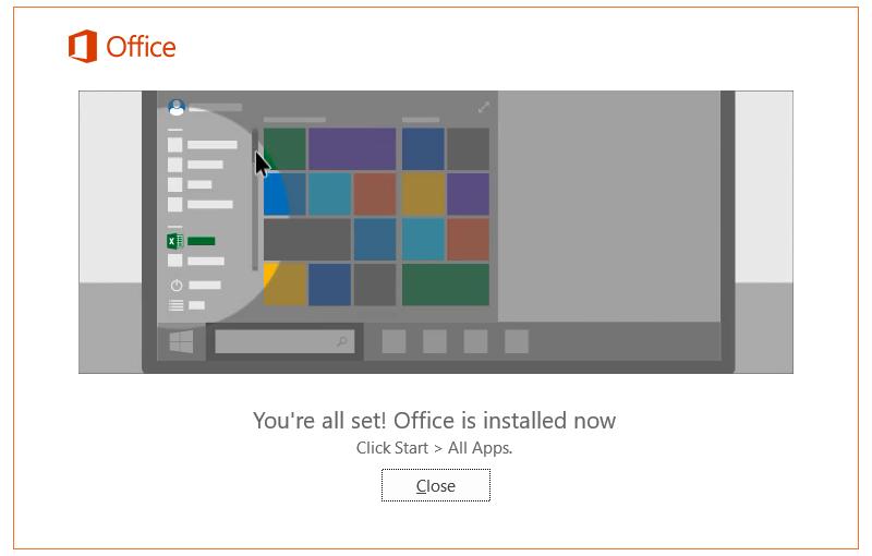 office 365 install success